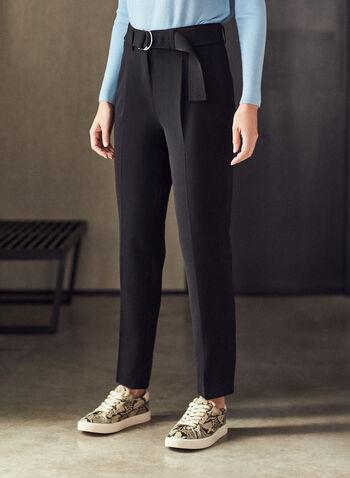 Belted Ankle Length Pants, Black,  pants, belt, pleats, pockets, high rise, spring summer 2021