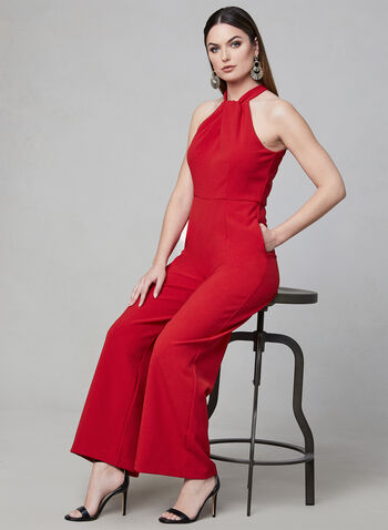 Julia Jordan - Halter Neck Jumpsuit, Red, hi-res