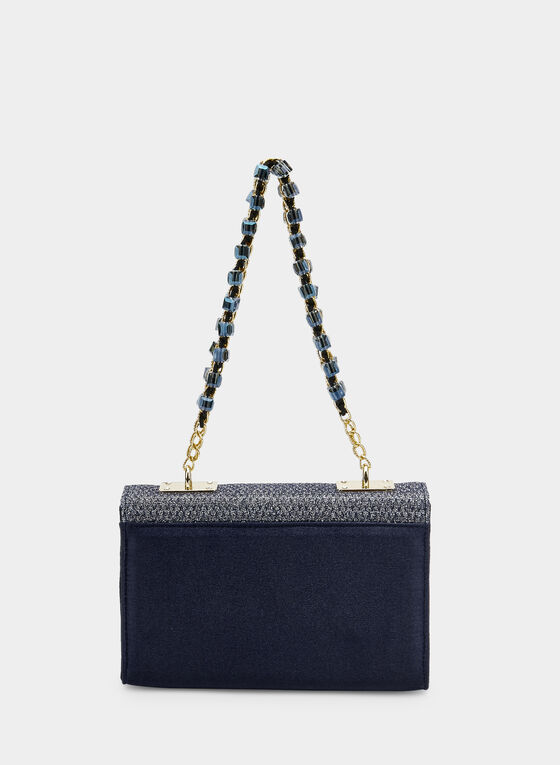 Glitter Trapezoid Purse, Blue