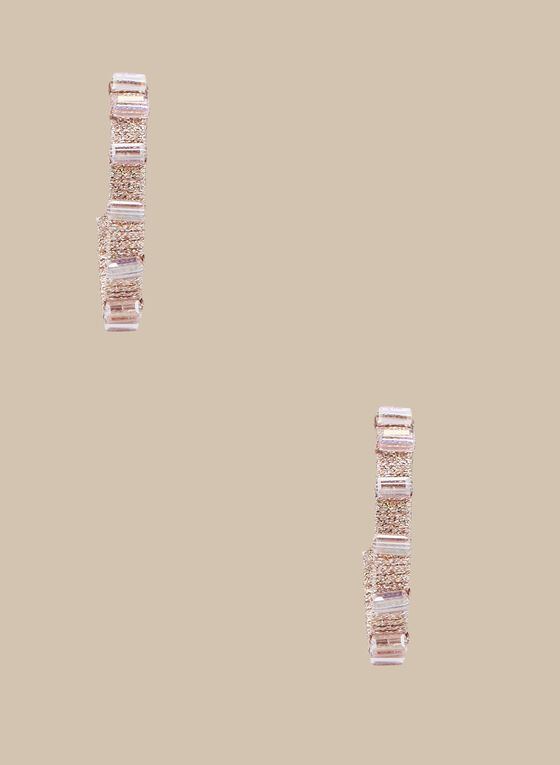 Bead & Crystal Hoop Earrings, Pink