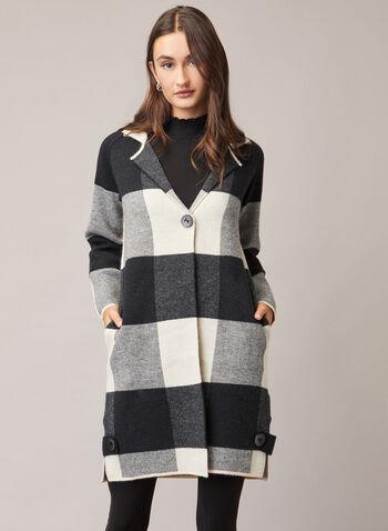 Cardigan à col cranté et carreaux, Noir,  automne hiver 2020, cardigan, manches longues, revers, cranté, tricot, carreaux, motif, carreauté, poches