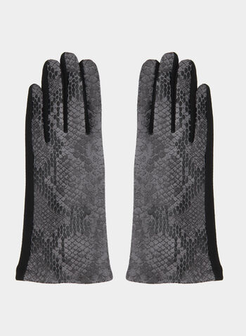Snakeskin Print Gloves, Black, hi-res,  gloves, snakeskin print, fall 2019, winter 2019