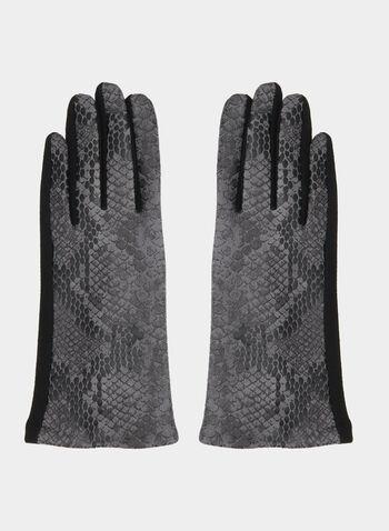 Snakeskin Print Gloves, Black,  gloves, snakeskin print, fall 2019, winter 2019