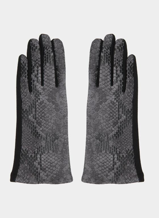 Snakeskin Print Gloves, Black