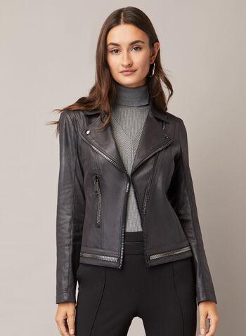 Vex - Faux Leather Zipper Detail Jacket, Black,  jacket, faux leather, zipper detail, notched collar, fall winter 2020