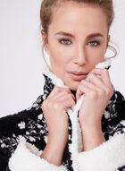 Kathy Ireland - Robe de chambre fleurie en peluche, Noir, hi-res