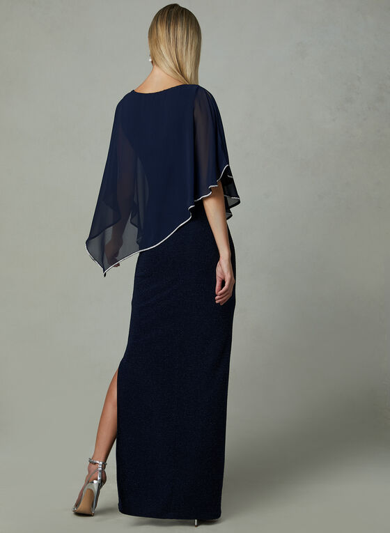 Frank Lyman - Poncho Evening Dress, Blue, hi-res