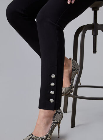 Amber Button Detail Pants, Black,  ankle pants, ponte de roma pants