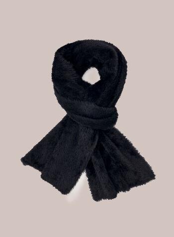 Fuzzy Acrylic Scarf, Black,  scarf, acrylic, fall winter 2020