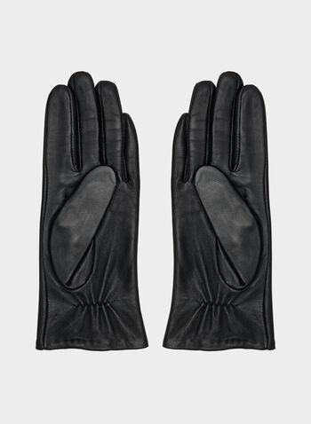 Gants en cuir à détails coutures, Noir,  gants, cuir, coutures, automne hiver 2019