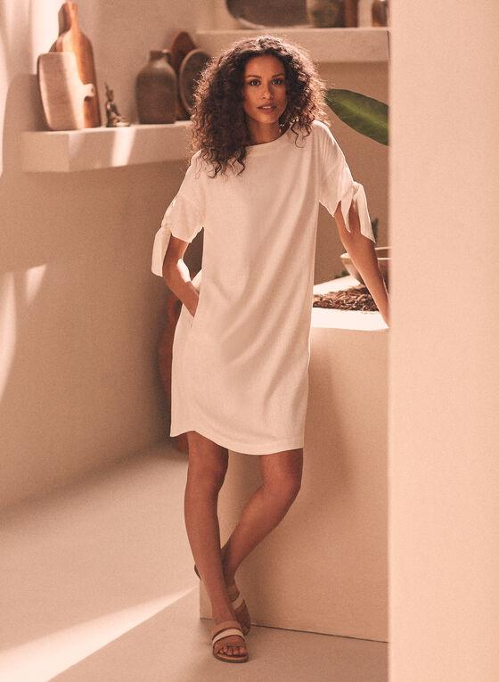 Linen Blend Tie Sleeve Dress, Off White