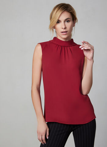 Sleeveless Crepe Top, Red, hi-res,  sleeveless, mock neck, pleated, pointed collar, fall 2019, winter 2019