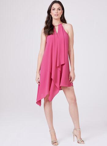 Kensie - Robe à col bijou ras-du-cou et effet drapé, Rose, hi-res