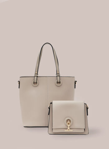 Set Of Two Handbags , Off White,  handbags, bag, purse, tote, flap bag, clutch, pouch, metallic, spring 2020, summer 2020
