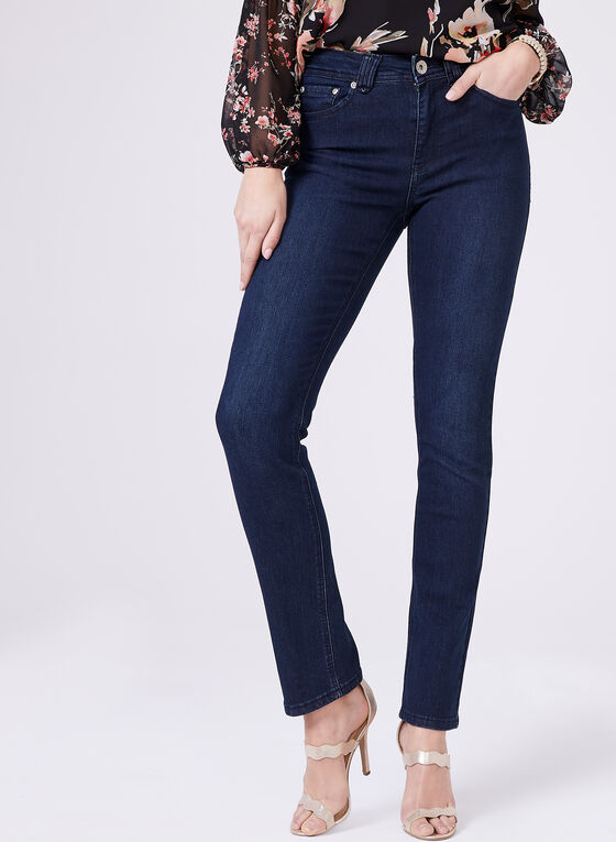 Carelli Jeans – Straight Leg High Rise Jeans, Blue, hi-res