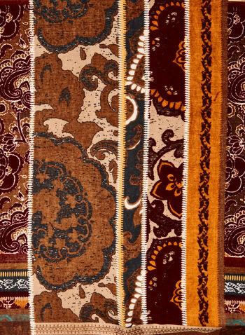 Foulard à motifs paisley et floral , Brun,  foulard, floral, paisley, léger, franges, automne hiver 2020