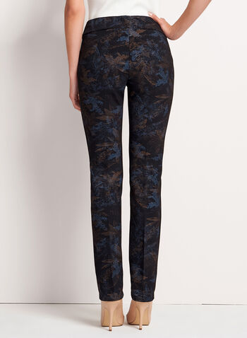 Pull-On Straight Leg Leaf Print Pants, Blue, hi-res