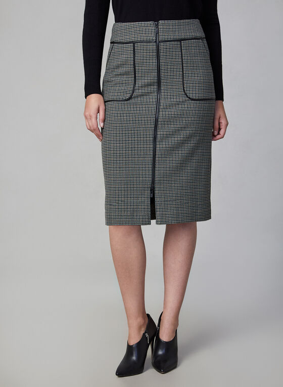 Houndstooth Print Pencil Skirt, Green
