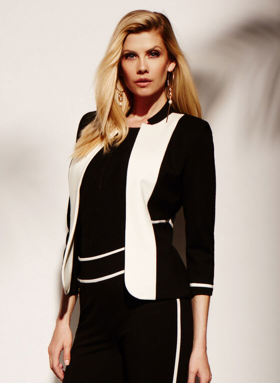 Colour Block Lapel Jacket , Black, hi-res