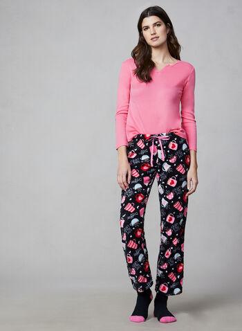 Pillow Talk - Three-Piece Pyjama Set, Pink,  Pillow Talk, pyjamas, sleepwear, socks, fleece, fall 2019, winter 2019