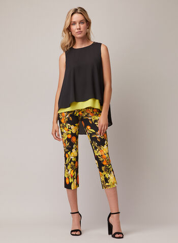 Joseph Ribkoff - Citrus Print Pull-On Pants, Black,  pants, pull-on, bengaline, slim leg, citrus, spring summer 2020