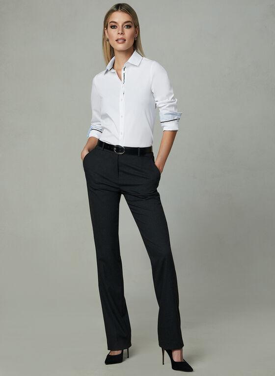 Long Sleeve Button Down Blouse, White