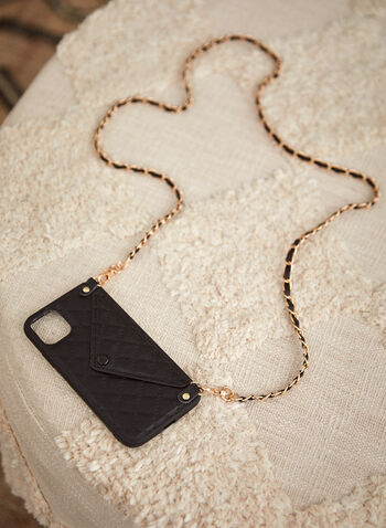 Quilted iPhone Case With Crossbody Chain, Black,  fall 2021, accessories, handbags, bag, phone holder, phone case, iPhone case, iPhone, crossbody, removable strap, card slit, snap closure, hard shell case, vegan leather, faux leather, quilted, envelope, card holder