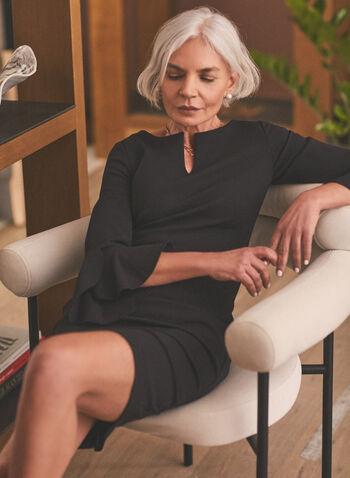 Ruffle Sleeve Crepe Dress, Black,  Fall winter 2020, straight cut, dress, ruffle, 3/4 sleeves, split neckline