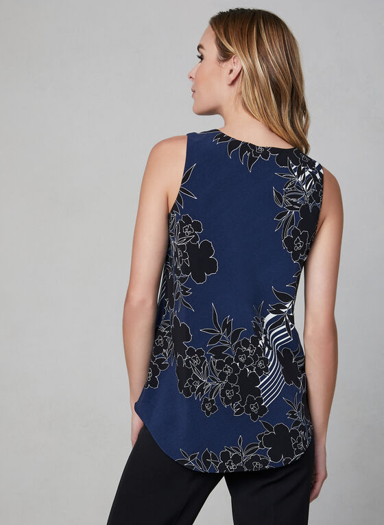 Floral Print Sleeveless Blouse, Blue