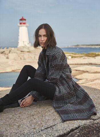 Long Plaid Coat, Grey,  fall winter 2020, coat, wool-like, tartan, long