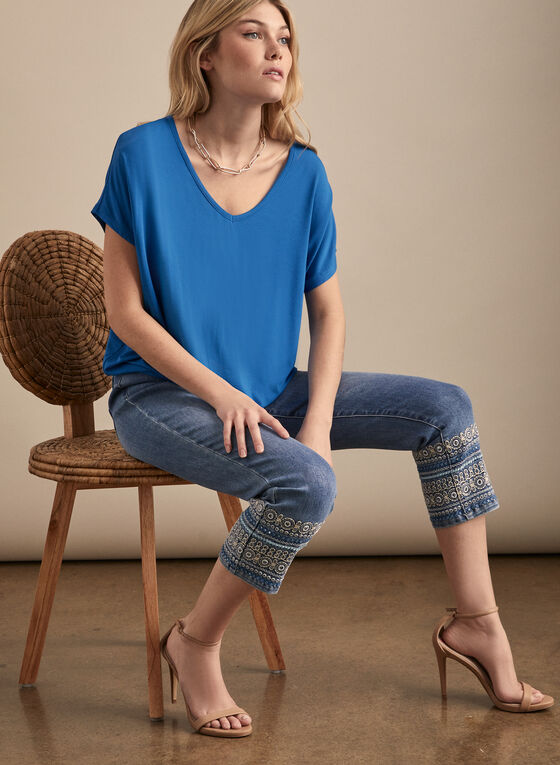 Tapered Hem V-Neck Top, Blue