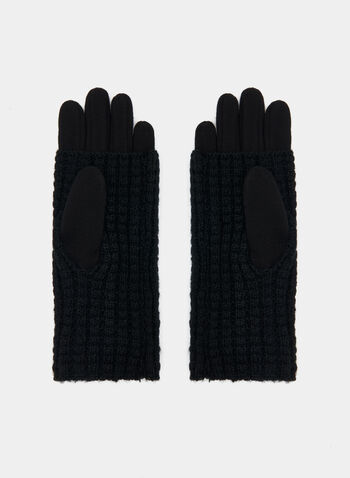 Fur Pompom Knit Gloves, Black, hi-res