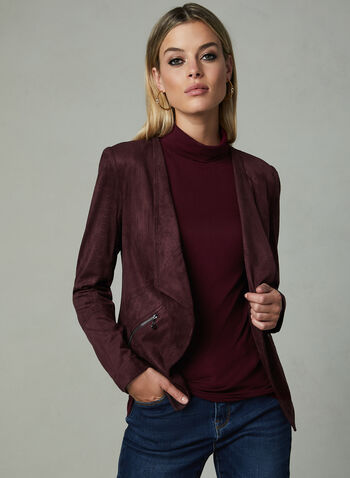 Vex - Cropped Faux Suede Jacket, Red,