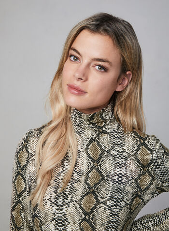 Alison Sheri - Snakeskin Print Turtleneck, Brown, hi-res,  Alison Sheri, top, turtleneck, snakeskin print, long sleeves, fall 2019, winter 2019