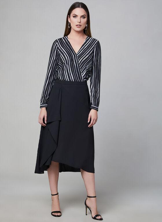 Cascading Midi Skirt, Black, hi-res
