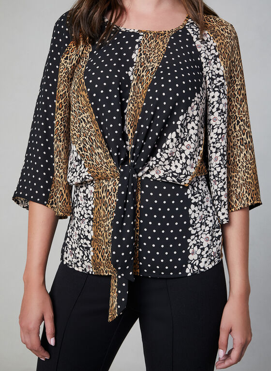 Mixed Print Tie Detail Blouse, Black, hi-res
