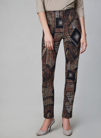 Joseph Ribkoff - Patchwork Print Pants, Black, hi-res,  straight leg, textured, stretchy, pull-on, fall 2019, winter 2019
