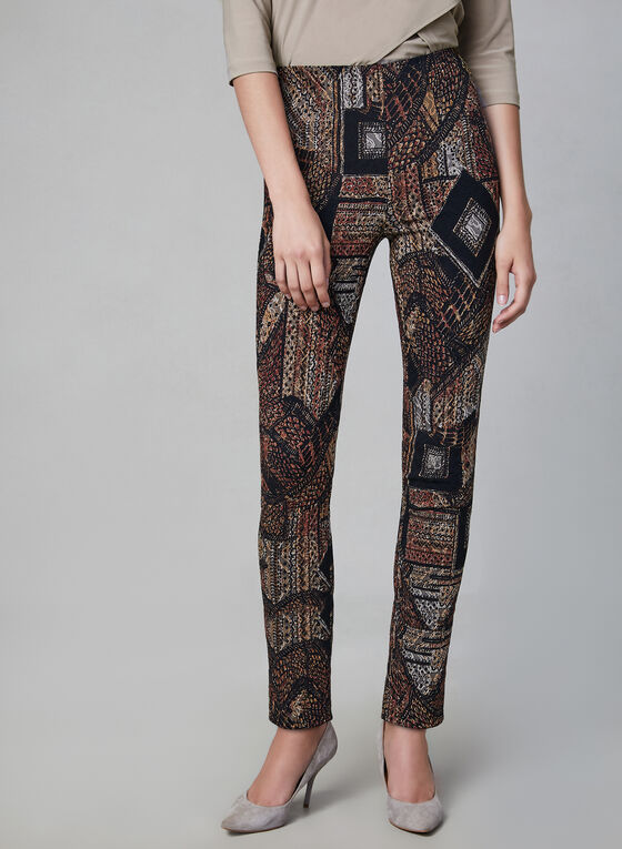 Joseph Ribkoff - Pantalon à motif patchwork, Noir, hi-res