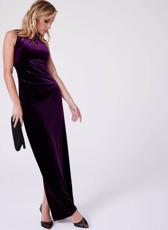 Frank Lyman - Beaded Neck Velvet Dress, Purple, hi-res
