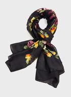 Contrast Floral Art Scarf, Black, hi-res