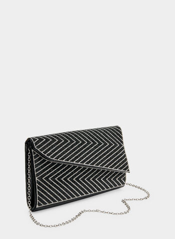 Asymmetric Envelope Clutch, Black,  crystals, zigzag, asymmetric, fall 2019, winter 2019