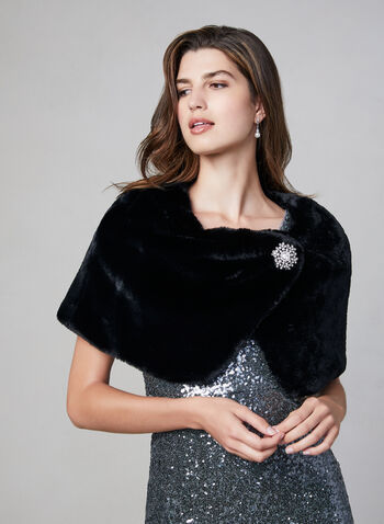 Frank Lyman - Faux Fur Stole, Black,  stole, faux fur, brooch, fall 2019, winter 2019