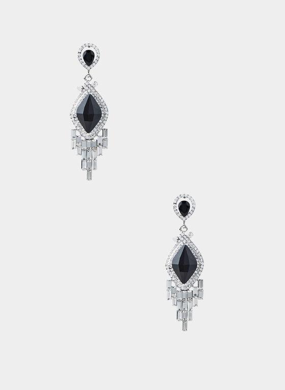 Boucles d'oreilles à pierre diamant , Noir