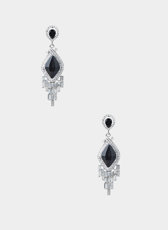 Diamond Shape Crystal Fringe Earrings, Black