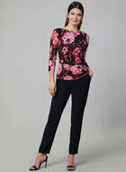 Floral Print 3/4 Sleeve Top, Black, hi-res