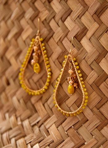 Beaded Teardrop Dangle Earrings, Gold,  spring summer 2021, accessory, jewellery, earrings, teardrop, pendant, bead, beaded, open teardrop, gold, bohemian,