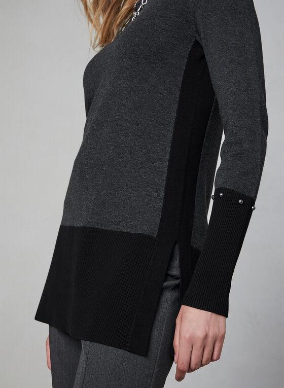Pull tunique à blocs de couleurs, Gris, hi-res