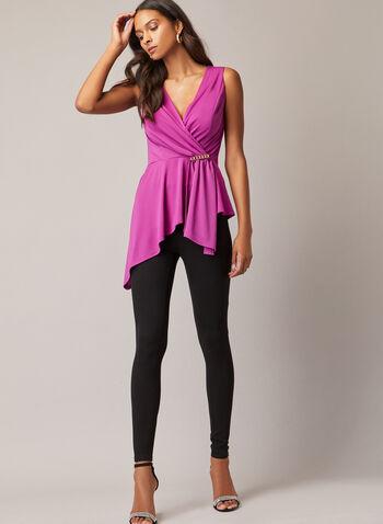 Sleeveless Brooch Detail Top, Red,  top, sleeveless, drape, brooch, jersey, asymmetric, fall winter 2020