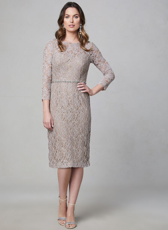 Sequin Lace Dress, Off White, hi-res