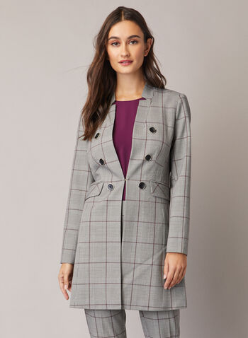 Tartan Print Button Detail Redingote , Black,  Redingote, tartan, jacket, long sleeves, notch collar, buttons, Fall 2020